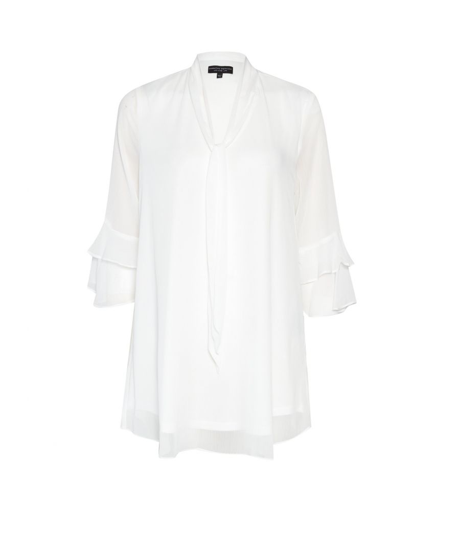 Image for Dorothy Perkins Womens Ivory Chiffon Tunic Top V-Neck 3/4 Sleeve Longline Blouse