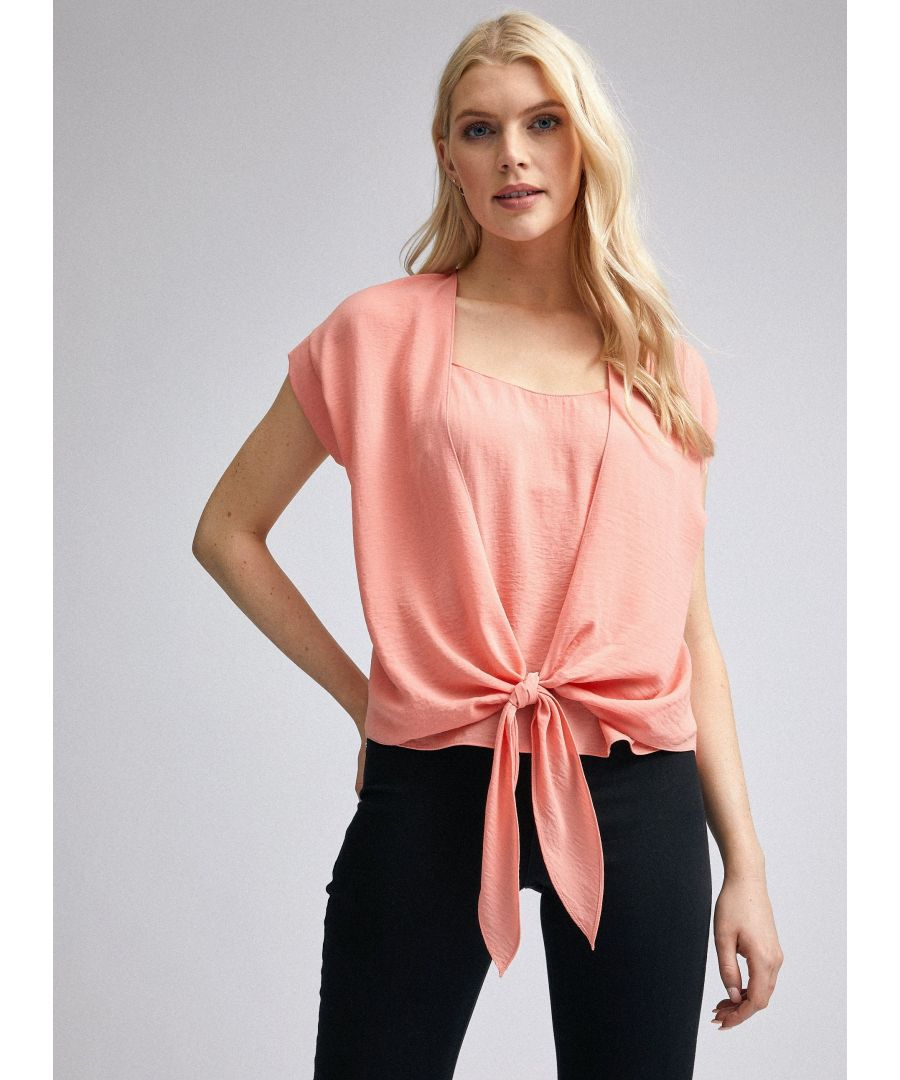 Image for Dorothy Perkins Womens Pink 2 In 1 Tie Top Short Sleeve Round Neck Blouse