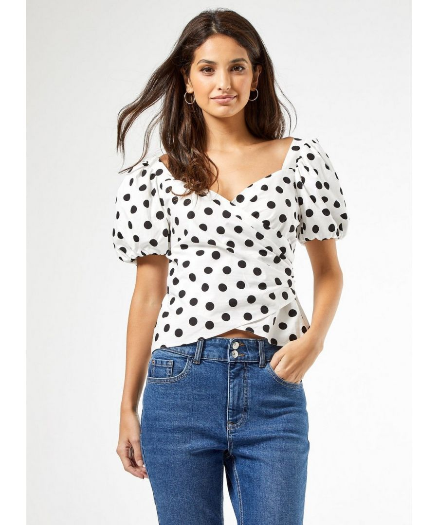 Image for Dorothy Perkins Womens Ivory Spot Print Wrap Top Short Balloon Sleeve Blouse