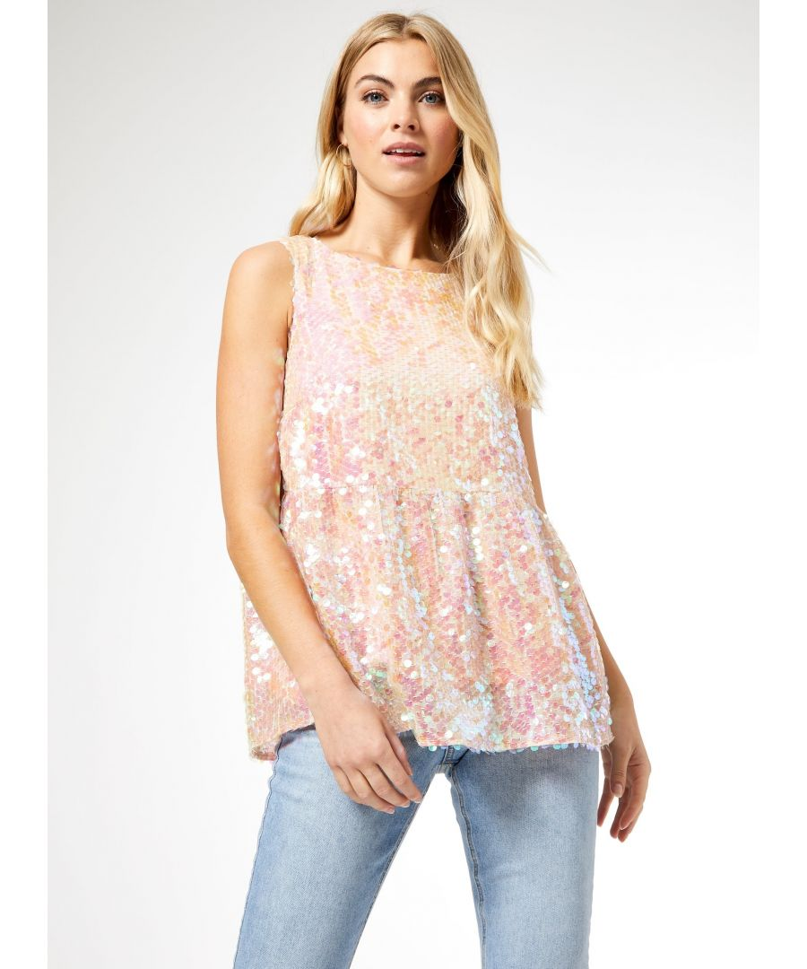 Image for Dorothy Perkins Womens Pink Sequin Tiered Top Round Neck Sleeveless Blouse