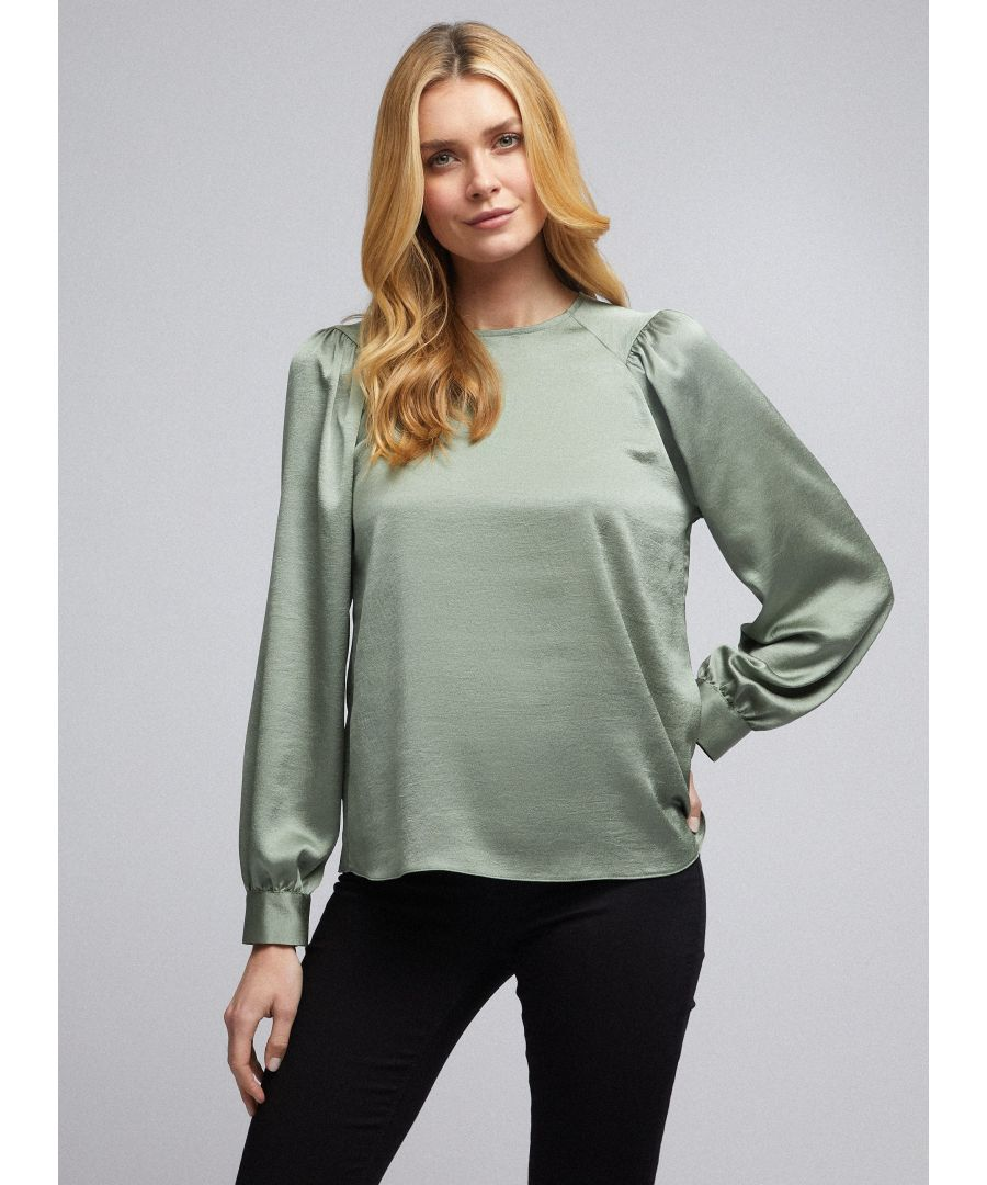 Image for Dorothy Perkins Womens Green Colour Sage Satin Balloon Sleeve Top Blouse