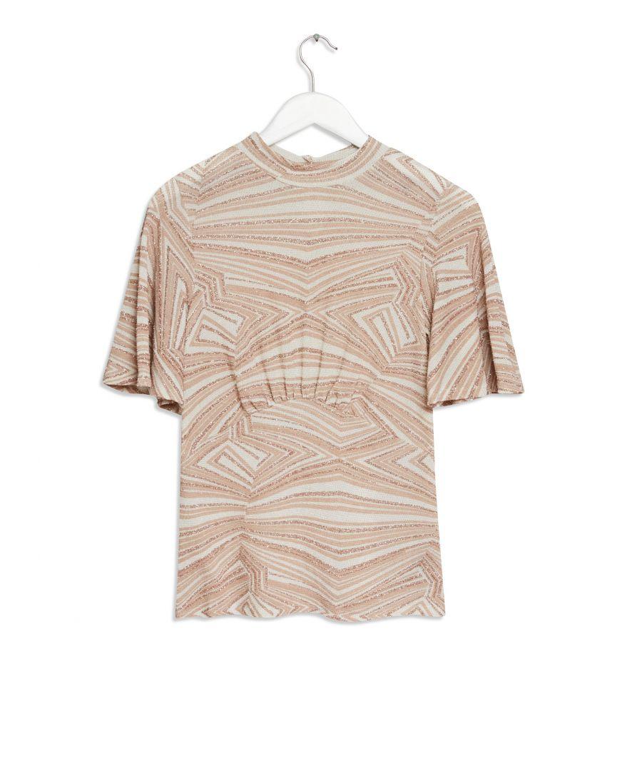 Image for Dorothy Perkins Womens Pink Glitter Empire Seam Short Sleeve Top Shirt
