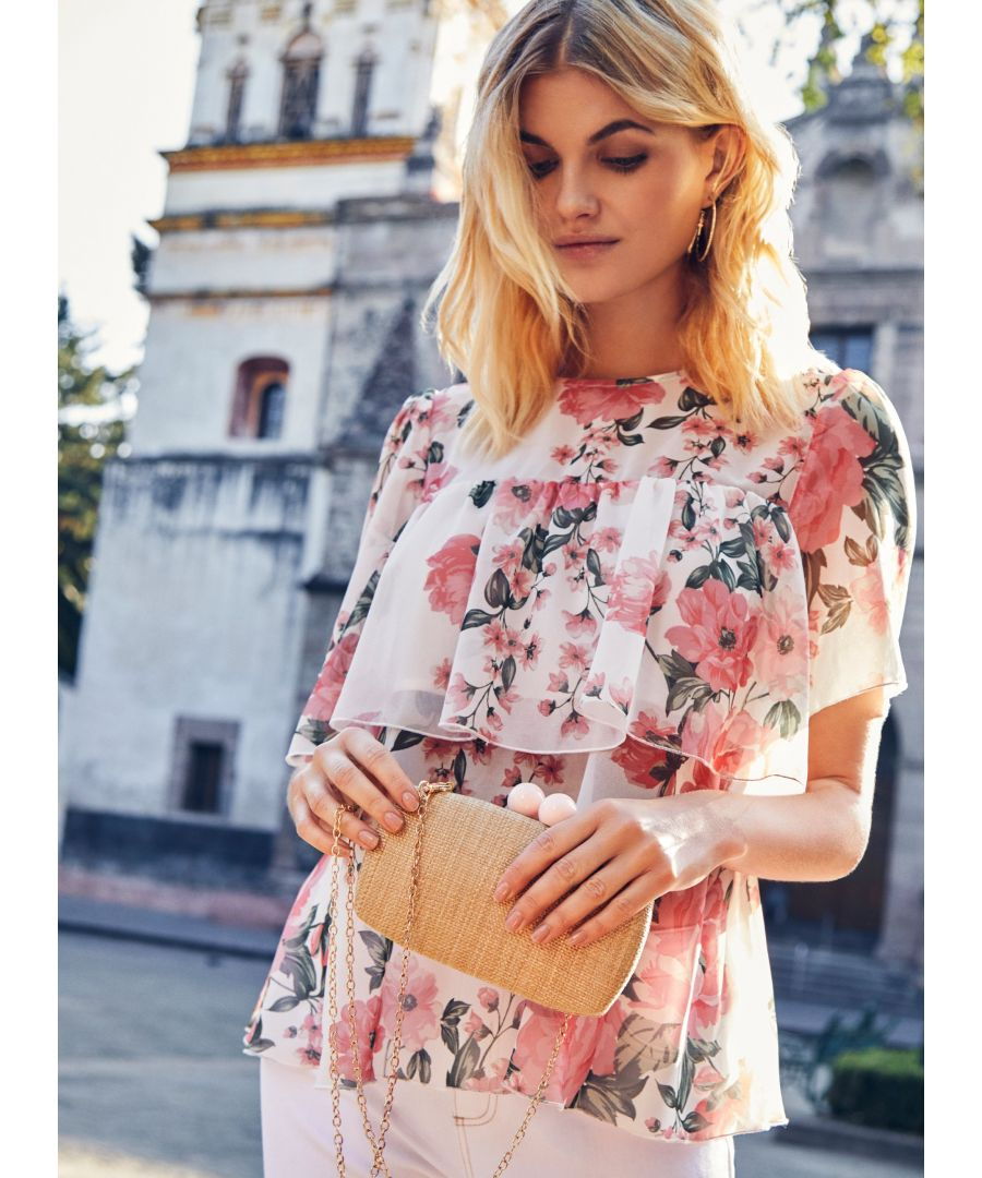 Image for Dorothy Perkins Womens Ivory Floral Print Tiered Top Round Neck Short Sleeve
