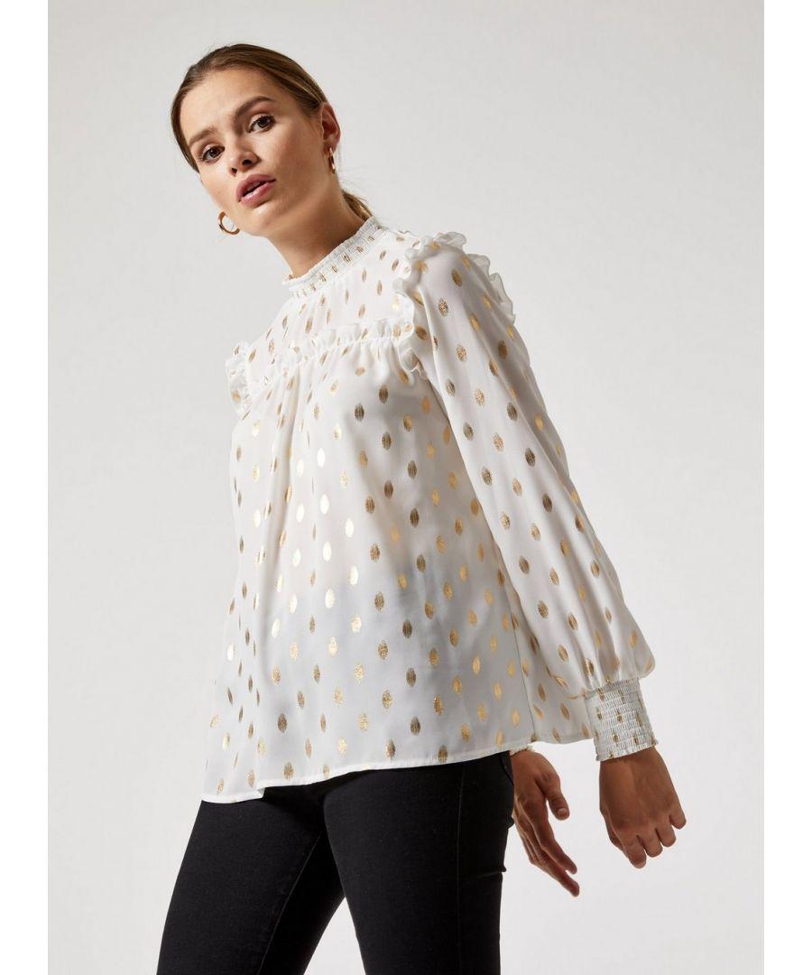 Image for Dorothy Perkins Womens Ivory Foil Spot Print Top Blouse Elegant