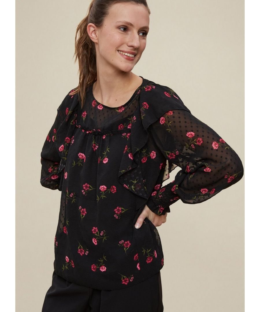 Image for Dorothy Perkins Womens Pink Dobby Floral Top Shirt Blouse Round Neck Long Sleeve