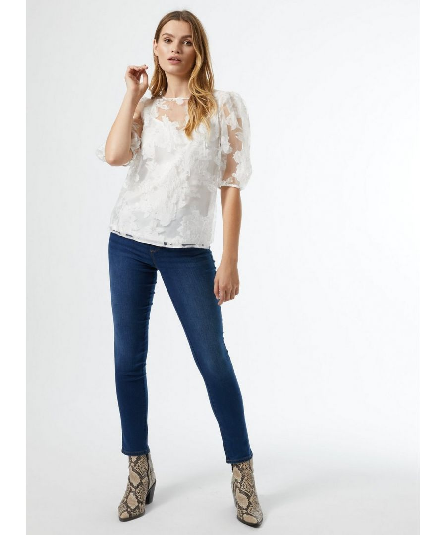 Image for Dorothy Perkins Womens Ivory Floral Organza Lined T-Shirt Top Elegant