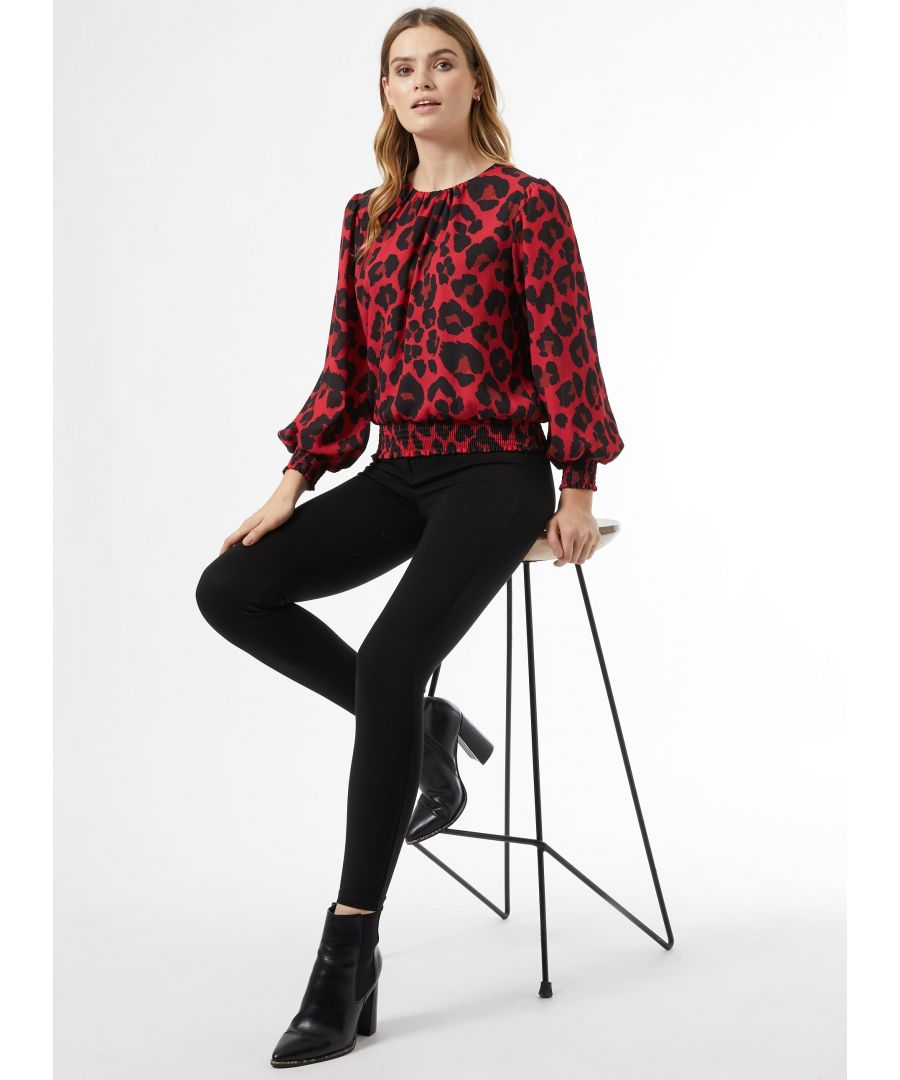 Image for Dorothy Perkins Womens Red Animal Shirred Hem Top Shirt Blouse Round Neck