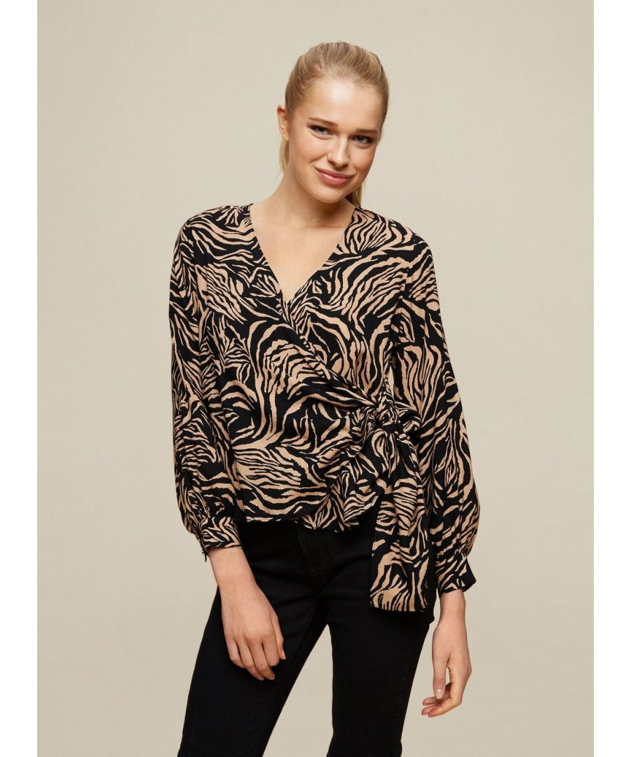 Image for Dorothy Perkins Womens Black Animal Print Wrap Top Shirt Blouse Long Sleeve