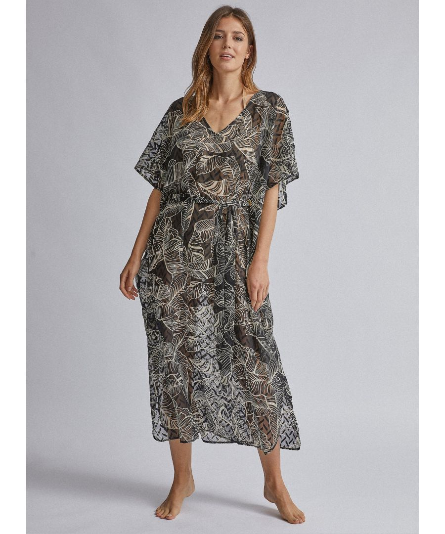 Image for Dorothy Perkins Womens Black Leaf Print Tie Maxi Beach Cover Up V-Neck Swimwear