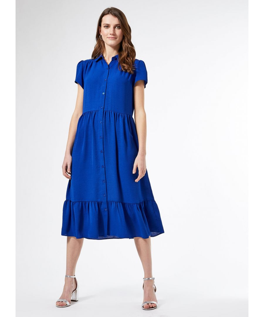 Image for Dorothy Perkins Womens Blue Smock Midi Shirt Dress Short Sleeve Front Buttons