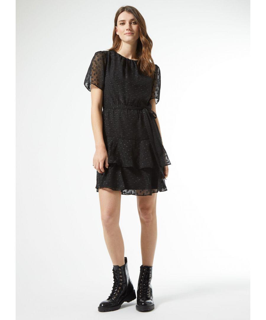 Image for Dorothy Perkins Womens Black Ruffle Mini Fit & Flare Dress Polka Short Sleeve