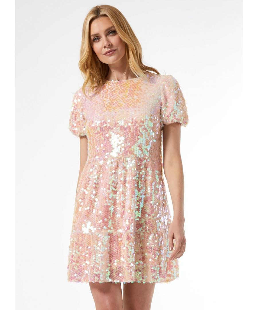 Image for Dorothy Perkins Womens Pink Premium Sequin Smock Mini Dress Short Sleeve