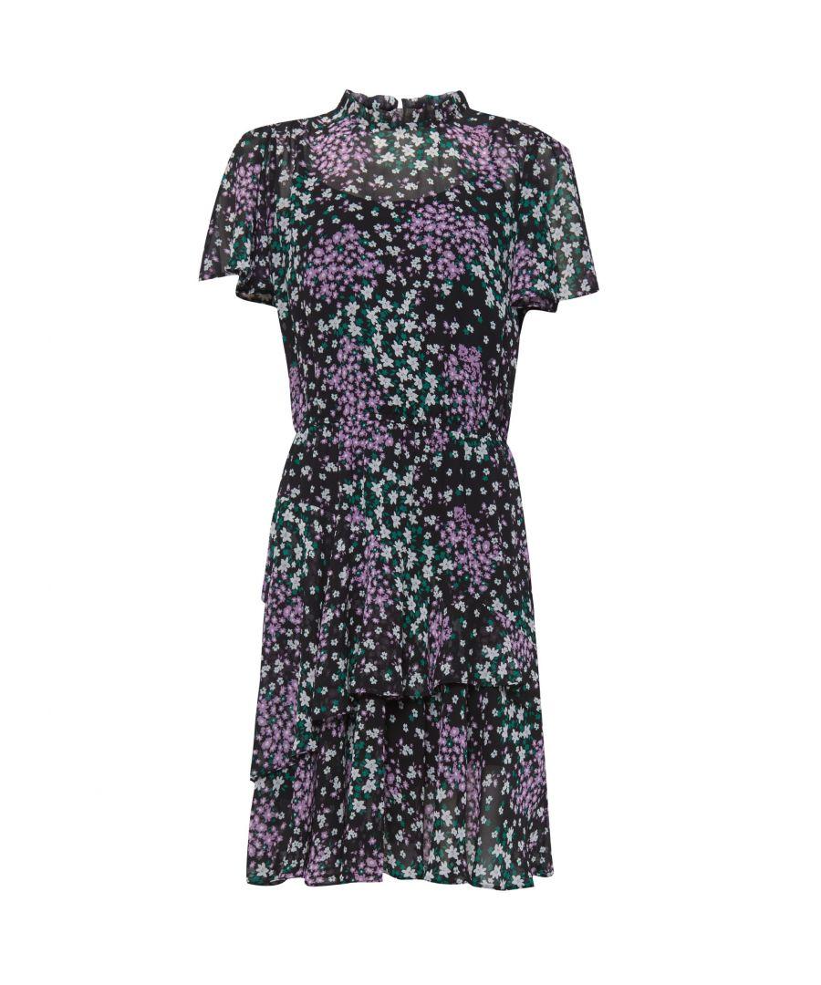 Image for Dorothy Perkins Womens Black Chiffon Floral Print Flippy Mini Dress Short Sleeve