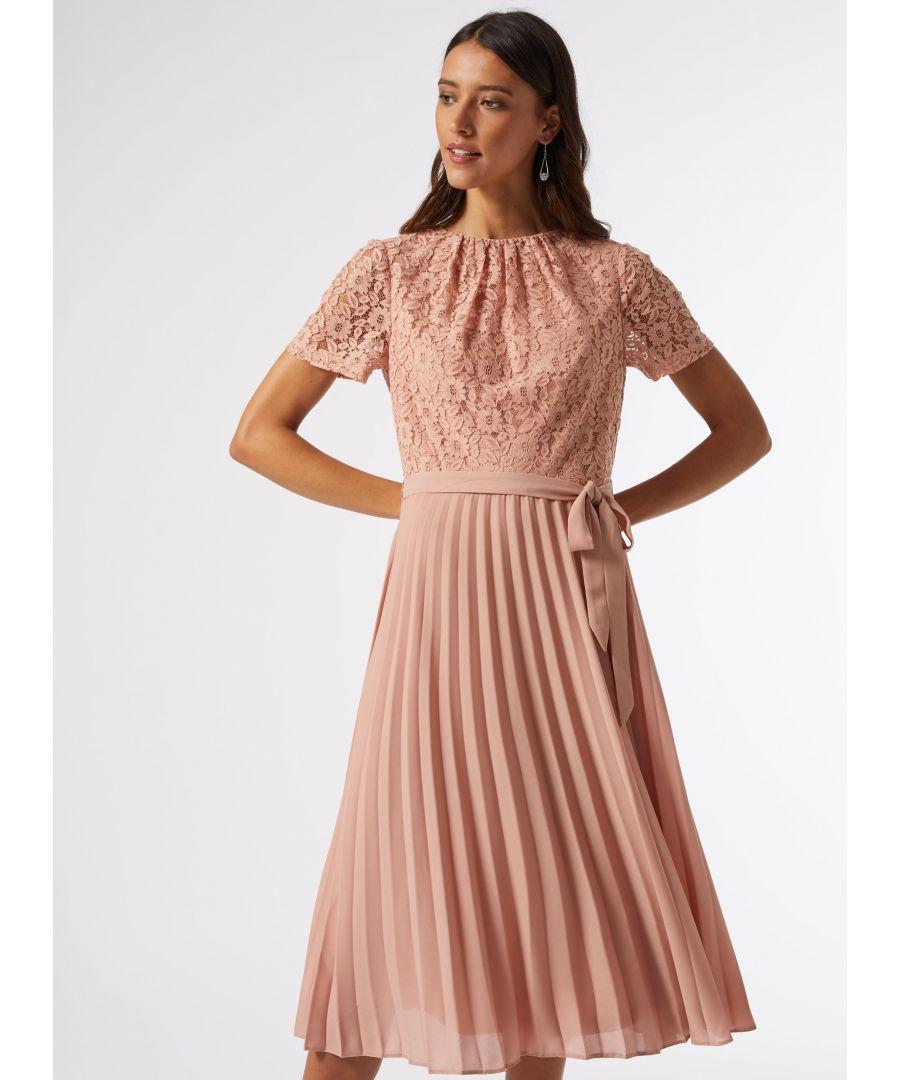 Image for Dorothy Perkins Womens Blush Lace Pleat Midi Skater Dress Short Sleeve