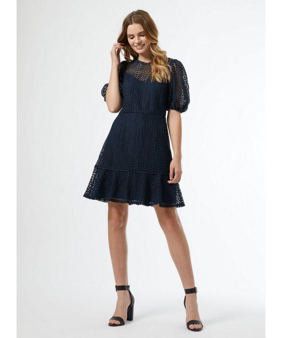Image for Dorothy Perkins Womens Blue Lace Peplum Mini Dress Short Sleeve Daywear Top