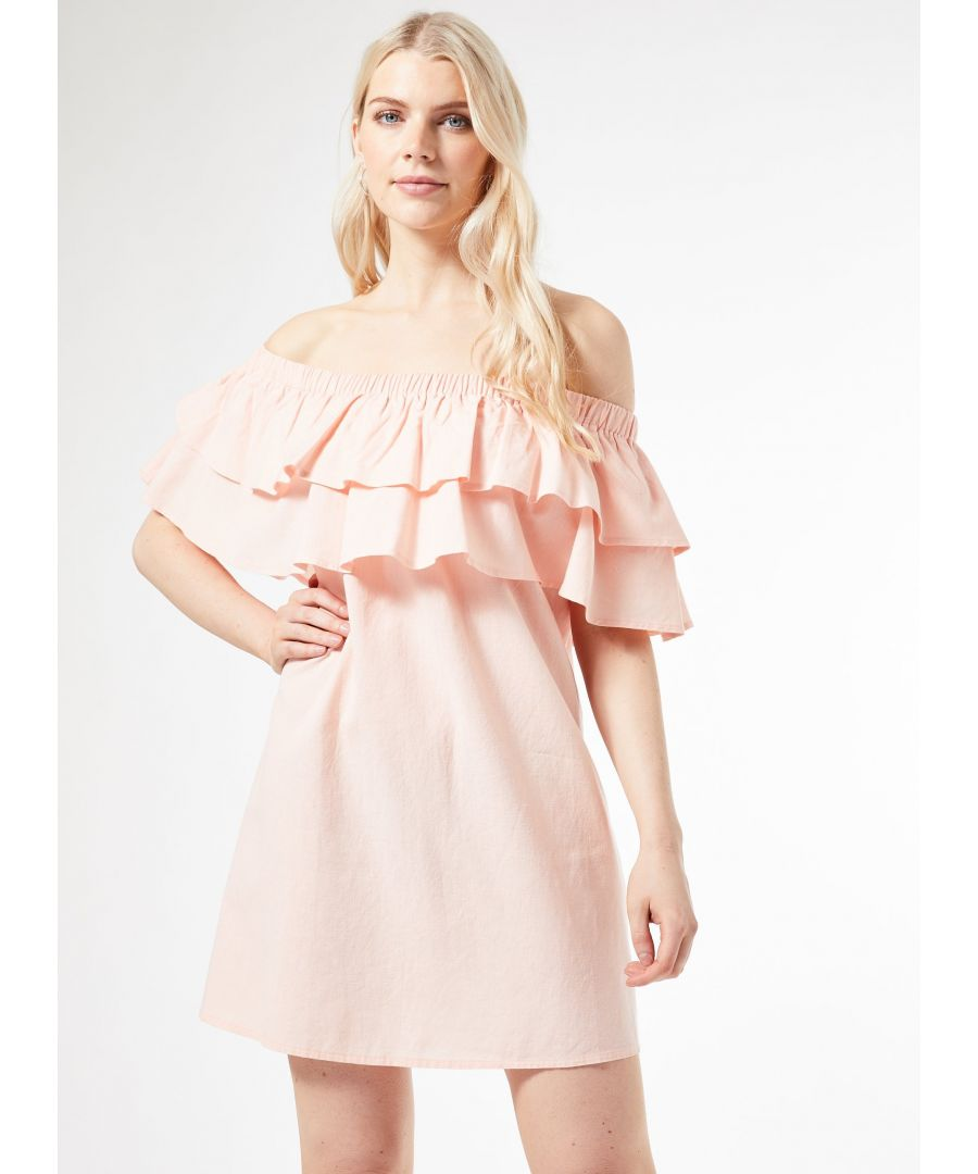 Image for Dorothy Perkins Womens Pink Double Frill Bardot Mini Dress Shoulderless