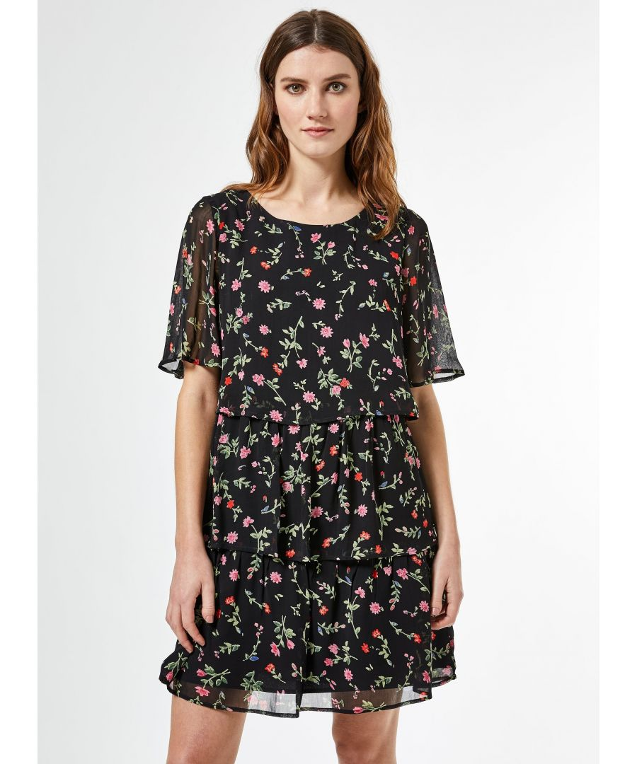 Image for Dorothy Perkins Womens Black Floral Print Triple Tiered Mini Dress Round Neck