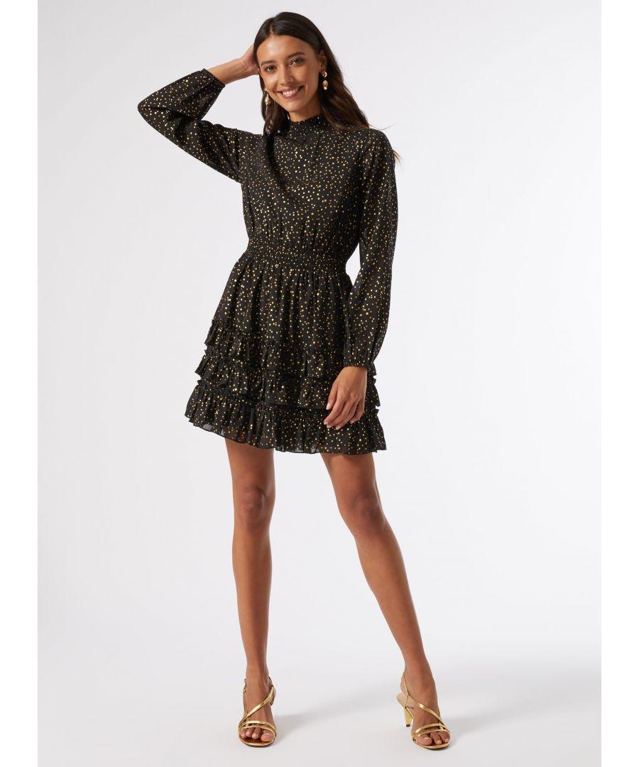 Image for Dorothy Perkins Womens Gold Woven Foil Mini Dress Long Sleeve Mock Neck