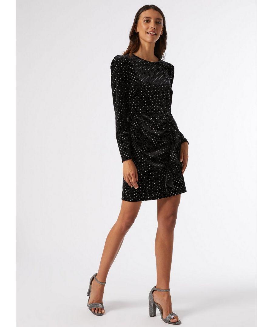 Image for Dorothy Perkins Womens Black Velvet Spot Print Mini Shift Dress Daywear Top