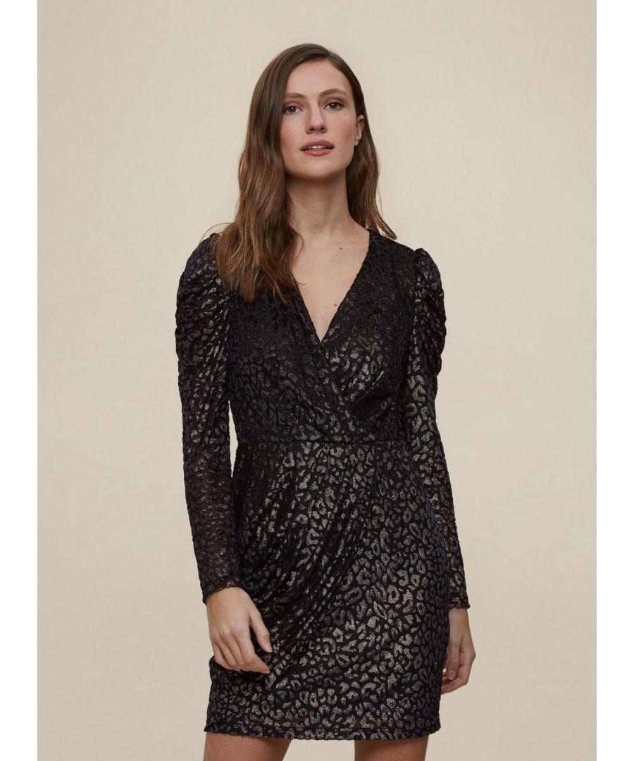 Image for Dorothy Perkins Womens Black Wrap Leopard Print Mini Bodycon Dress Fashion Wear