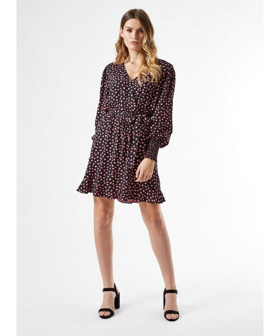 Image for Dorothy Perkins Womens Black and Pink Wrap Mini Dress V-Neck