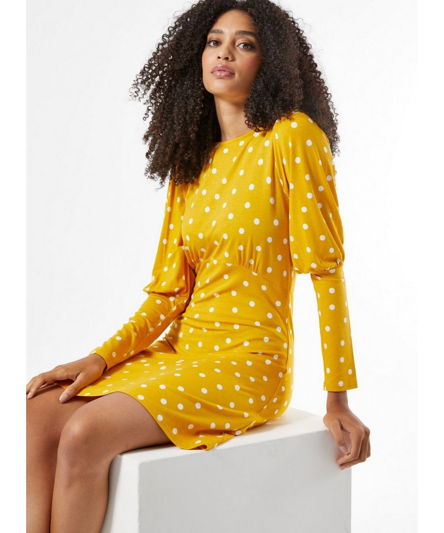 Image for Dorothy Perkins Womens Ochre Spot Jersey Fit And Flare Dress Wear Casual