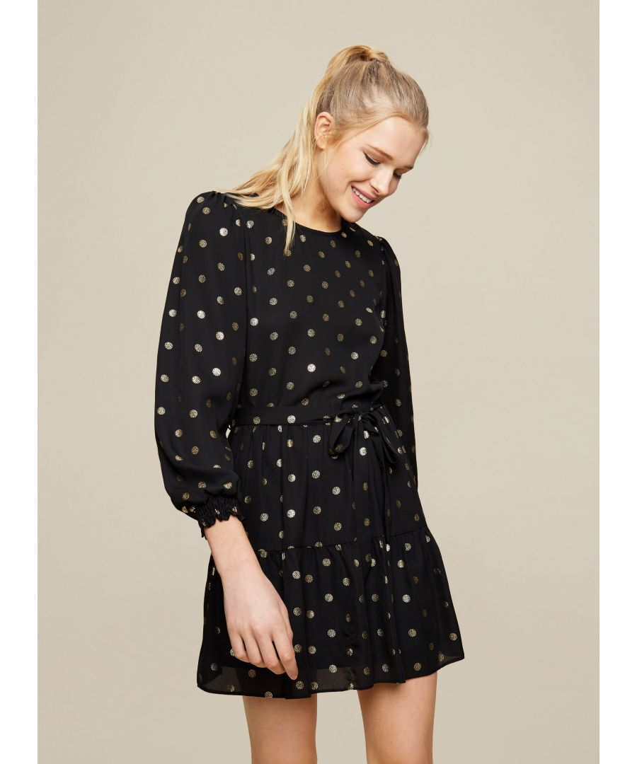 Image for Dorothy Perkins Womens Black and Gold Spot Mini Dress Long Sleeve Round Neck