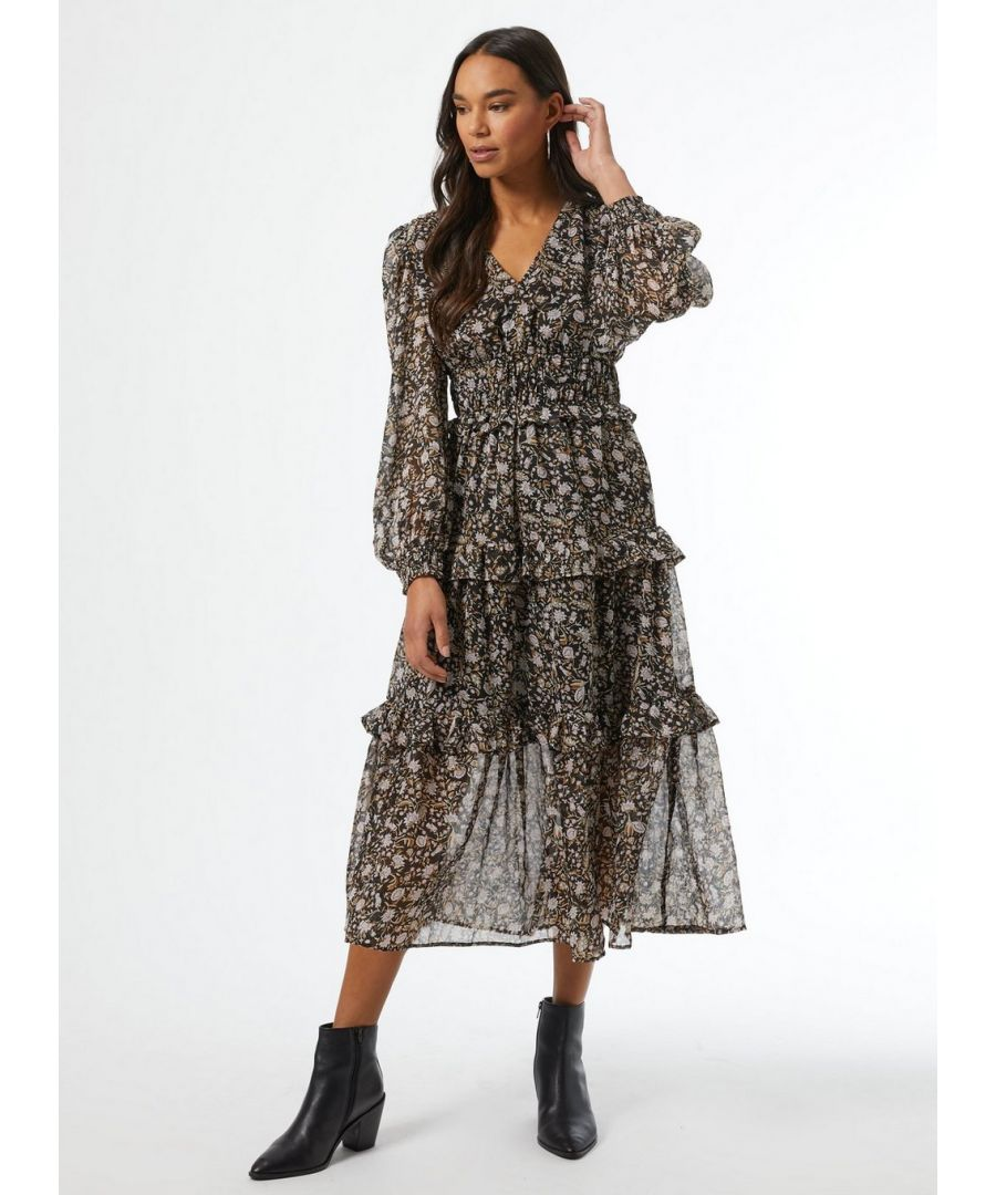 Image for Dorothy Perkins Womens Black Floral Shirred Midaxi Dress Long Sleeve V-Neck