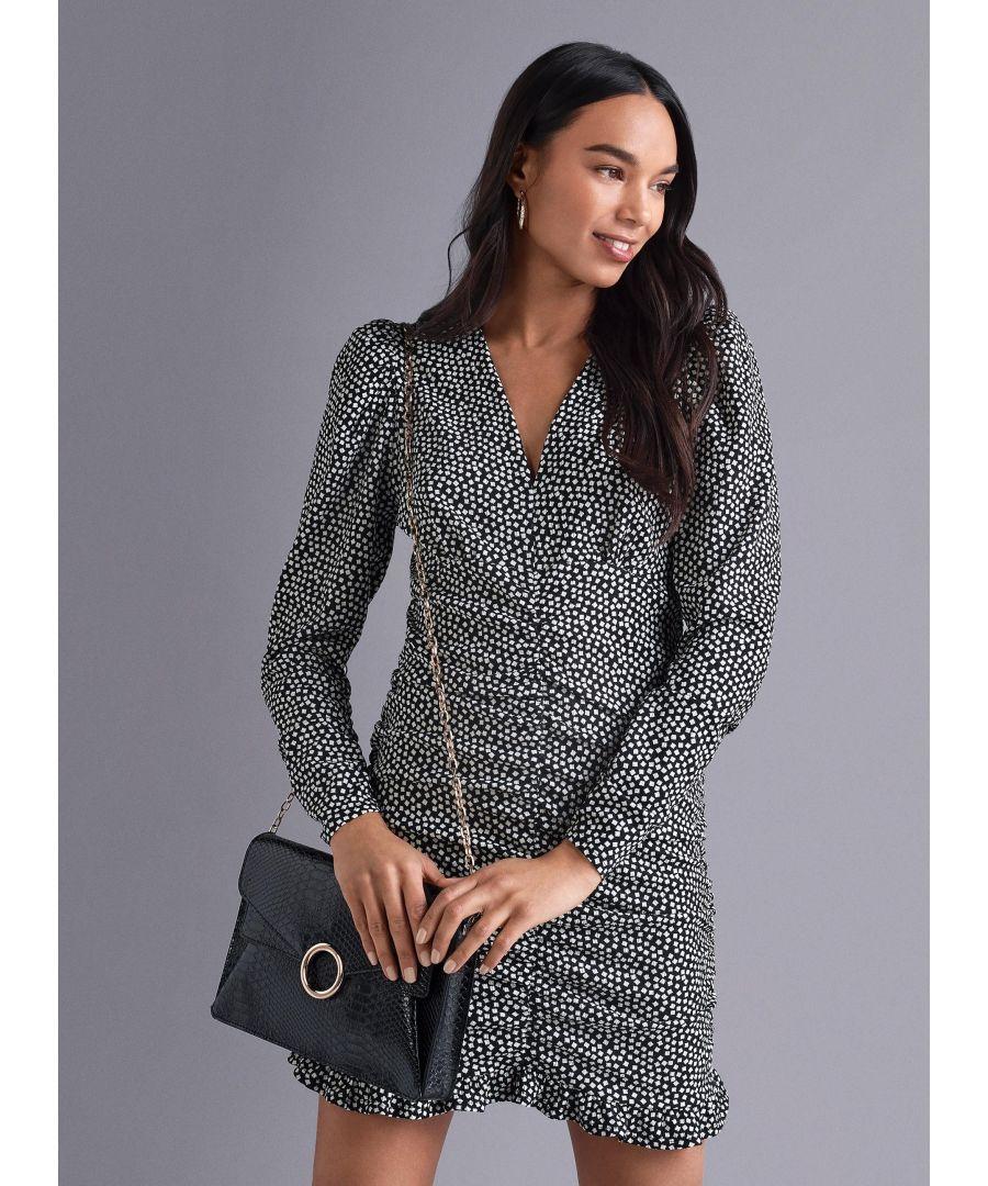 Image for Dorothy Perkins Womens Black Spot Print Ruched Mini Shift Dress Long Sleeve