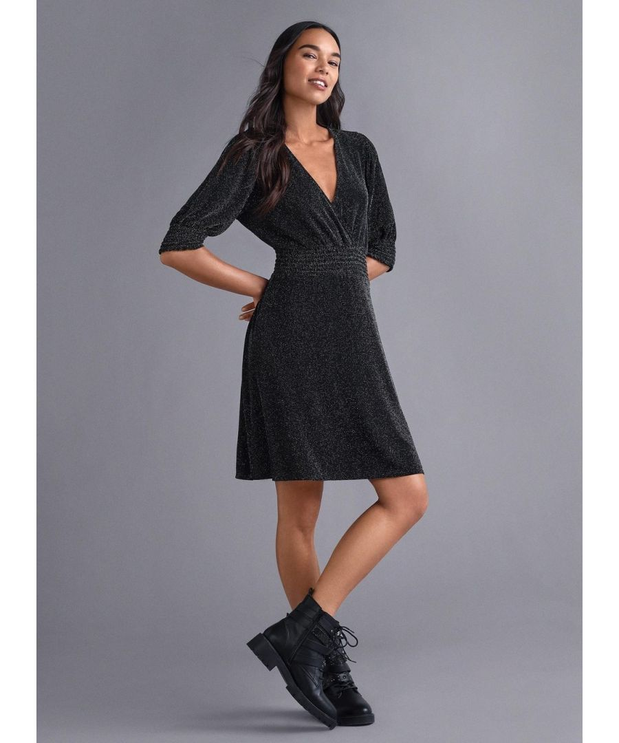 Image for Dorothy Perkins Womens Black Lurex Sheered Mini Dress V-Neck 3/4 Sleeve