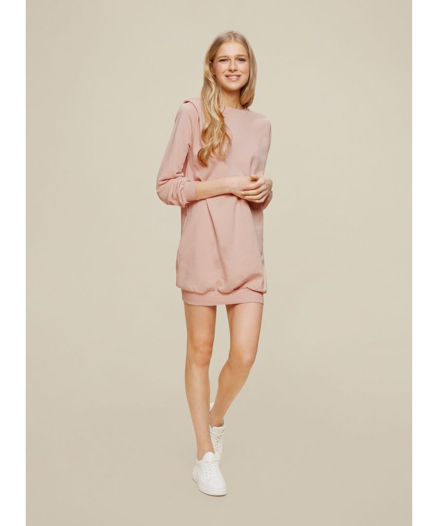Image for Dorothy Perkins Womens Pink Lounge Tuck Sweat Dress Long Sleeve Round Neck