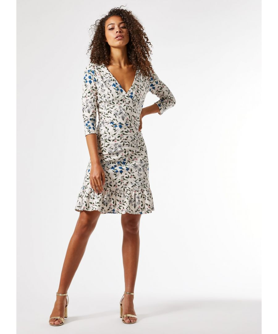 Image for Dorothy Perkins Womens Tall Multi Floral Print Wrap Mini Dress 3/4 Sleeve
