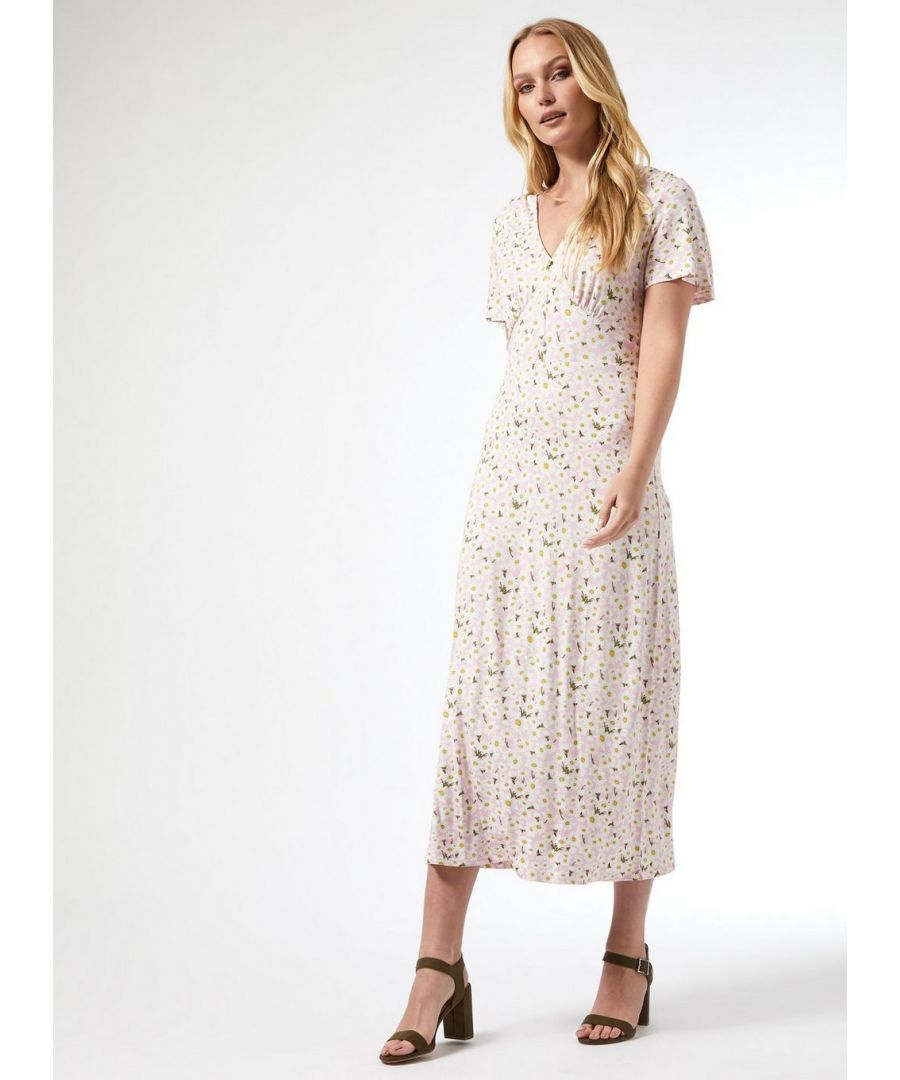 Image for Dorothy Perkins Womens Tall Pink Floral Print Midi Jersey Dress Casual Summer