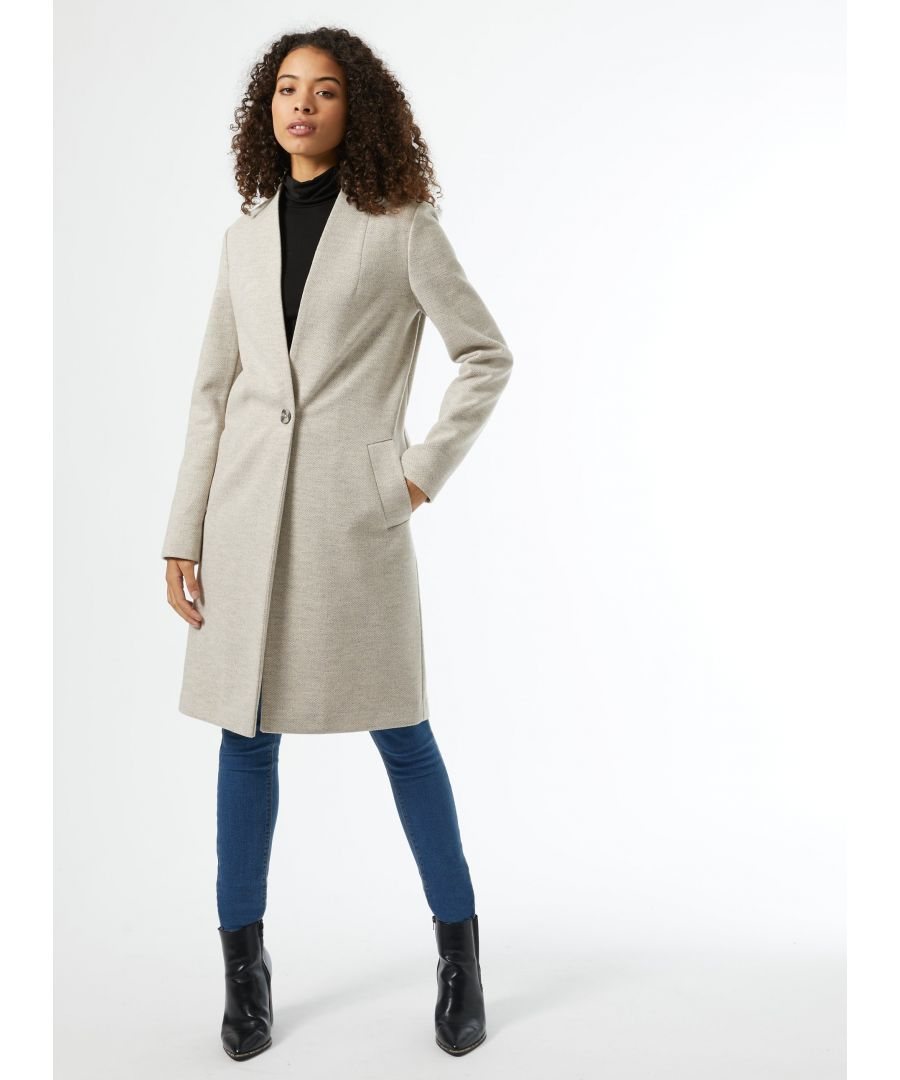 Image for Dorothy Perkins Womens Tall Oatmeal Collarless Unlined Coat Jacket Outwear Top