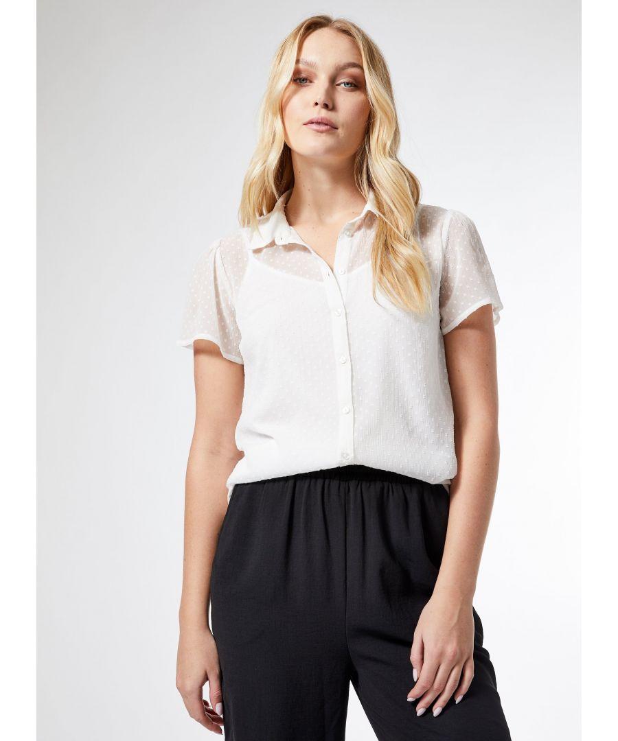Image for Dorothy Perkins Womens Tall Ivory Dobby Blouse Short Sleeve V-Neck Blouse