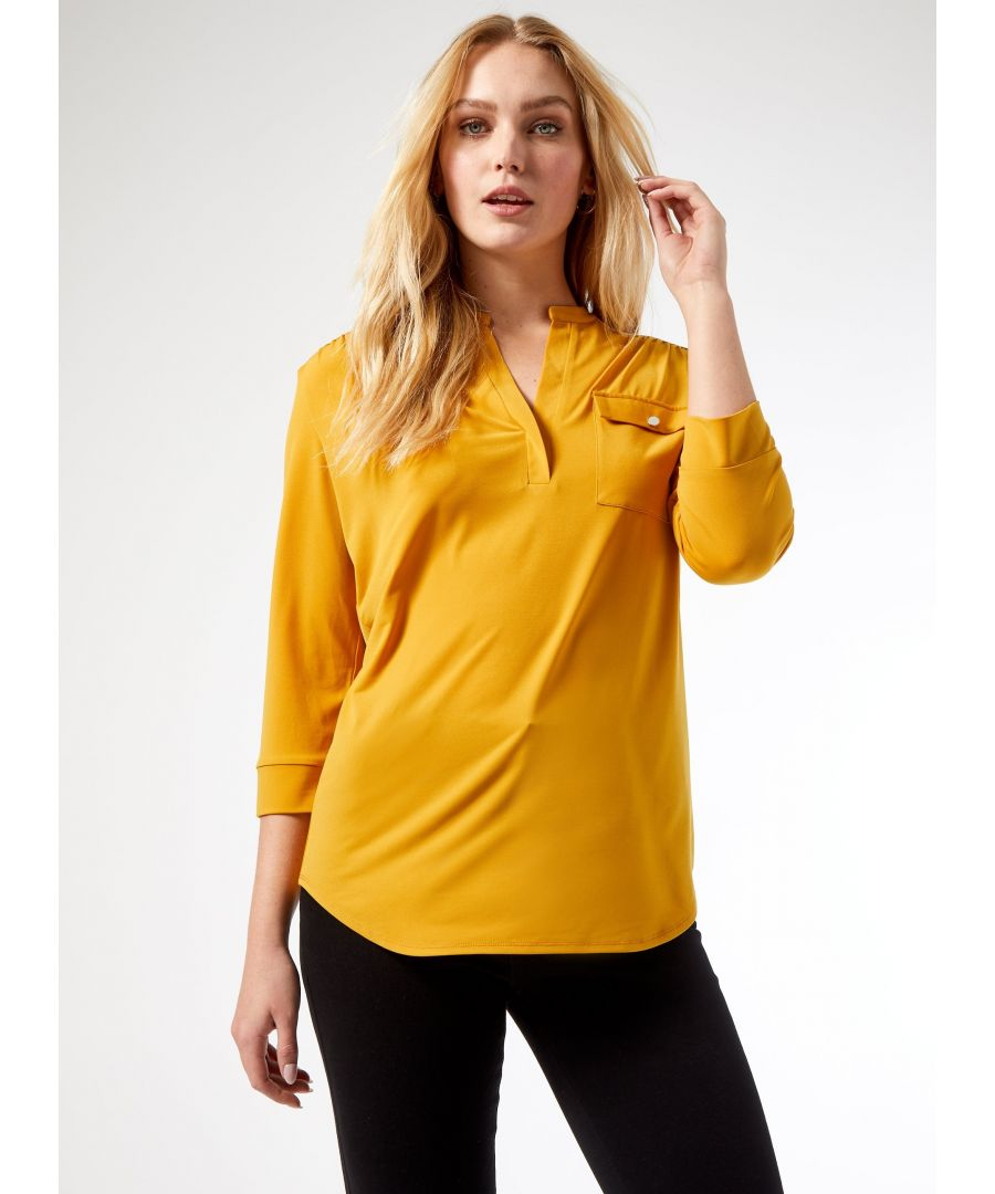 Image for Dorothy Perkins Womens Tall Yellow Shirt V-Neck 3/4 Sleeve Pocket Blouse Top