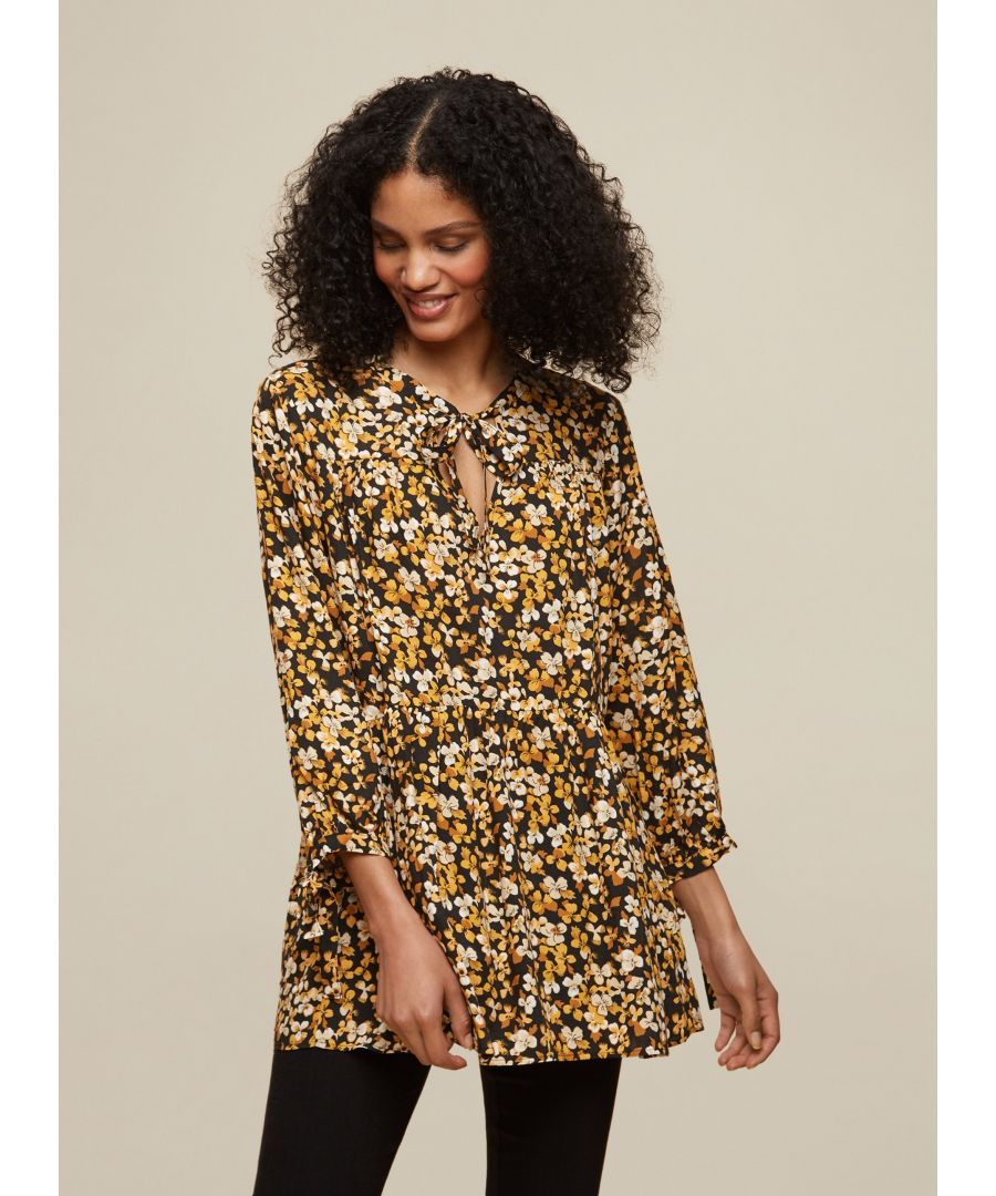 Image for Dorothy Perkins Womens Tall Mid Yellow Floral Smock Woven Top Shirt Blouse