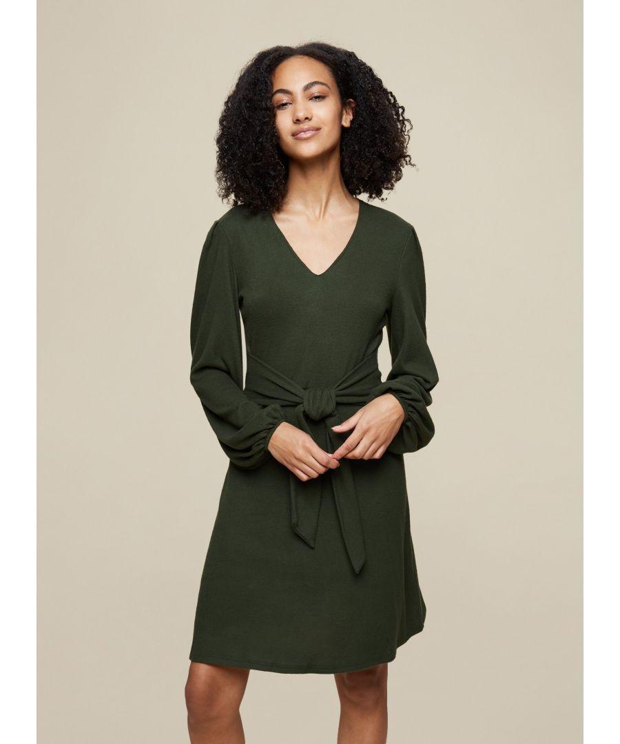 Image for Dorothy Perkins Womens Tall Green Tie Knit Dress Long Sleeve V-Neck Mini Wear