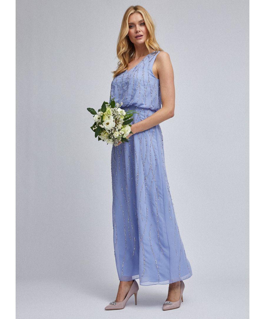 Image for Dorothy Perkins Womens Showcase Blue Morgan Pop Over Maxi Dress Bridesmaid