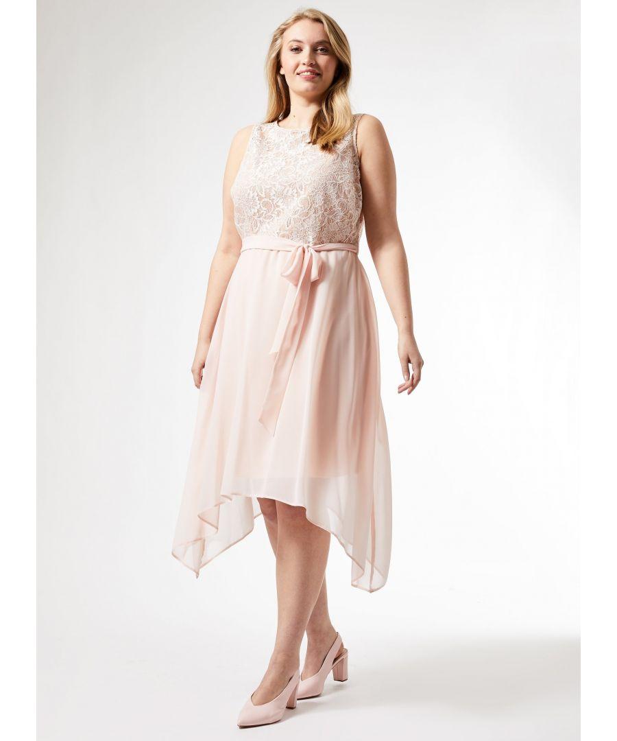 Image for Dorothy Perkins Womens Billie & Blossom Curve Pink Lace Hanky Hem Midi Dress