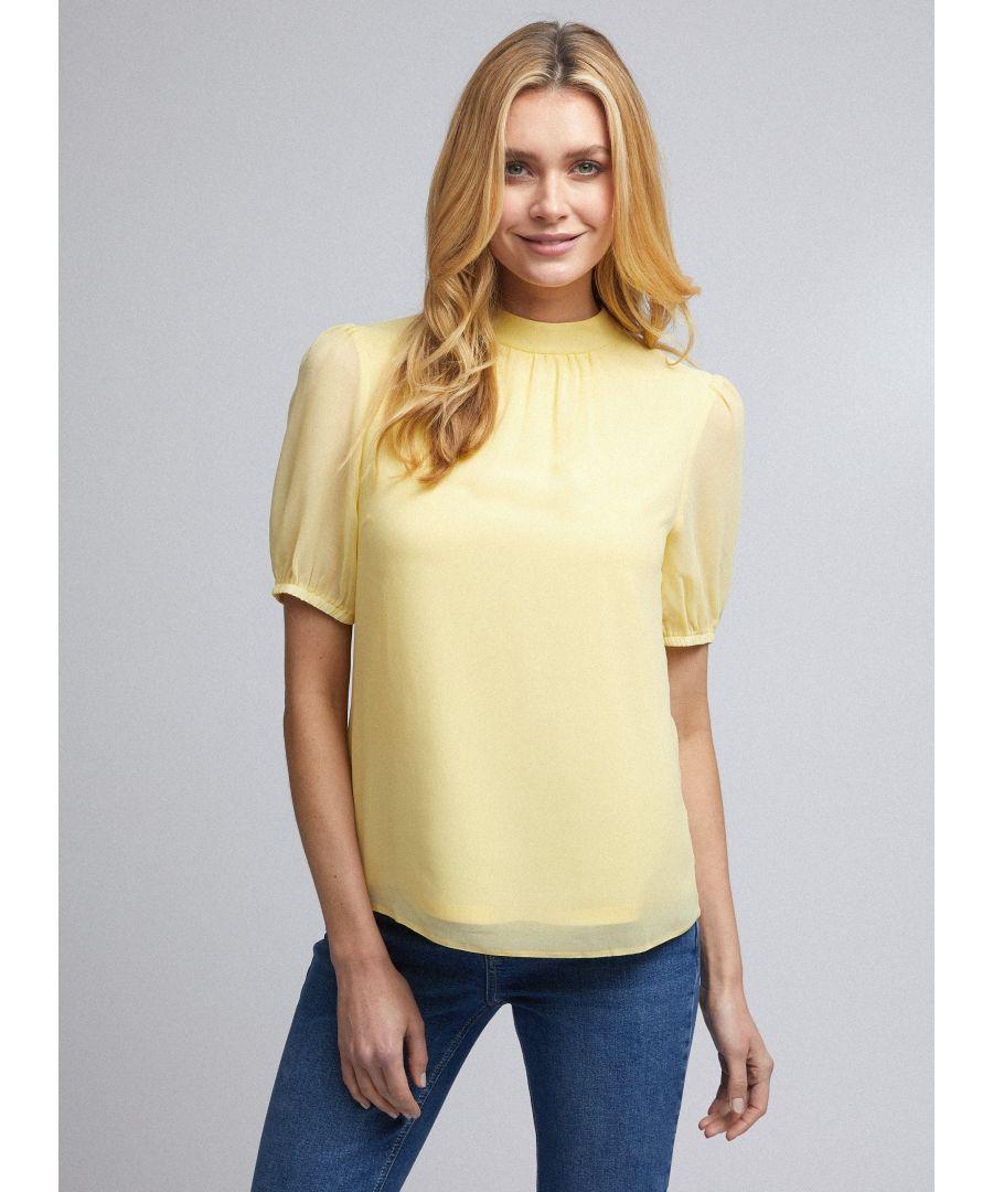 Image for Dorothy Perkins Womens Billie & Blossom Lemon Puff Sleeve Shell Top Blouse