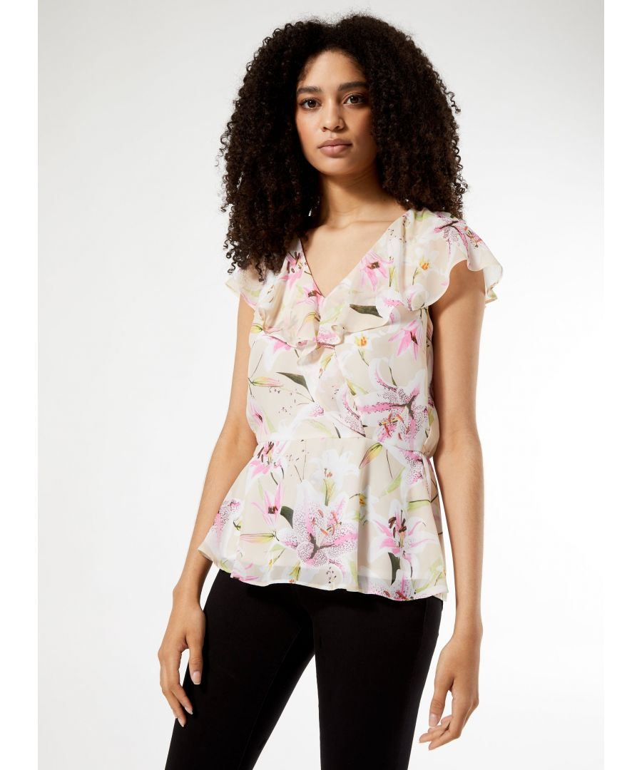 Image for Dorothy Perkins Womens Billie & Blossom Ivory Lily Floral Ruffle Top Blouse