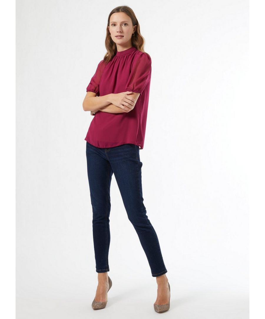 Image for Dorothy Perkins Womens Billie & Blossom Mulberry Cuff Chiffon Blouse Shirt Top