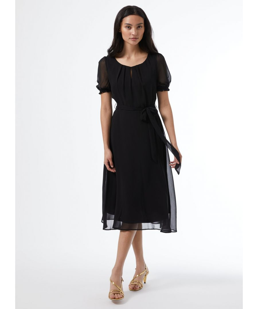 Image for Dorothy Perkins Womens Billie & Blossom Petite Black Key Hole Dress Short Sleeve