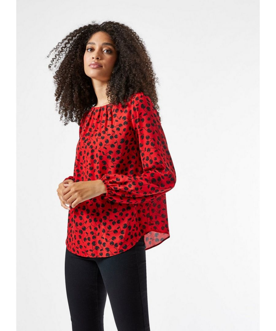 Image for Dorothy Perkins Womens Billie And Blossom Red Cherry Print Pleat Neck Blouse
