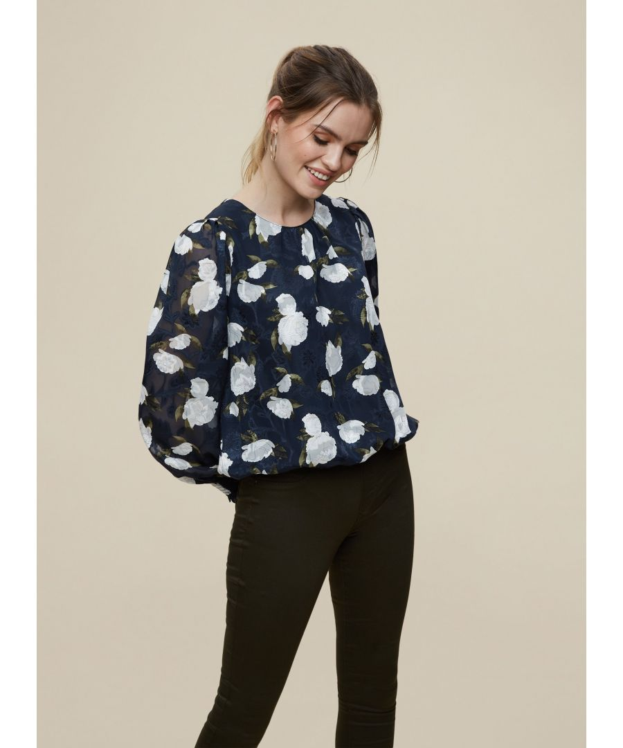 Image for Dorothy Perkins Womens Billie And Blossom Navy Floral Jacquard Top Shirt Blouse