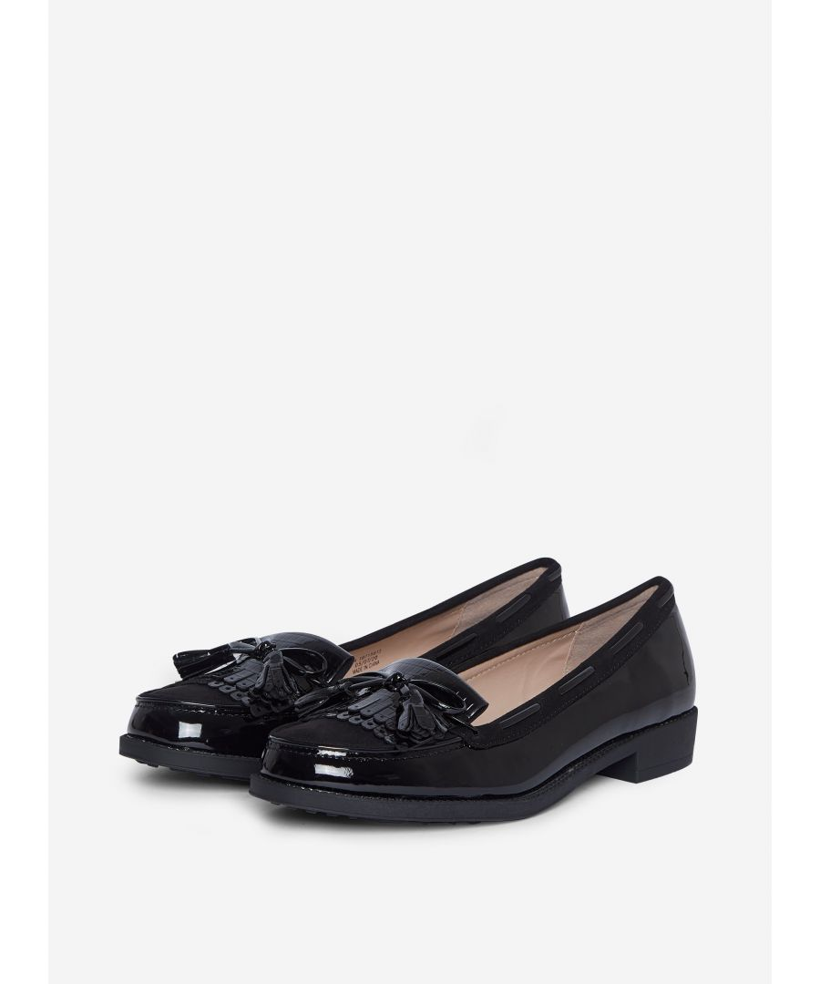 Image for Dorothy Perkins Womens Black Patent Lexy Loafers Flats Slip On Shoes