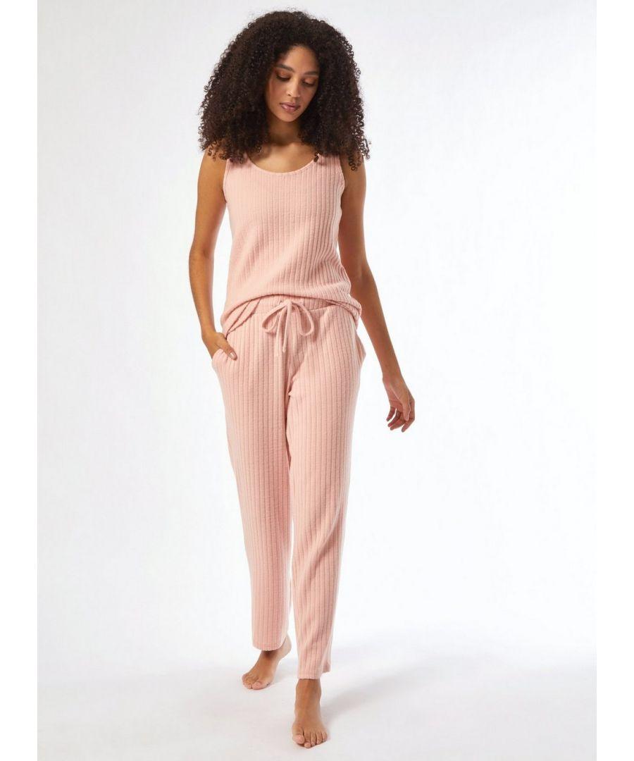Image for Dorothy Perkins Womens Blush Velvet Twosie Pyjama Set Lounge Nightwear Sleepwear