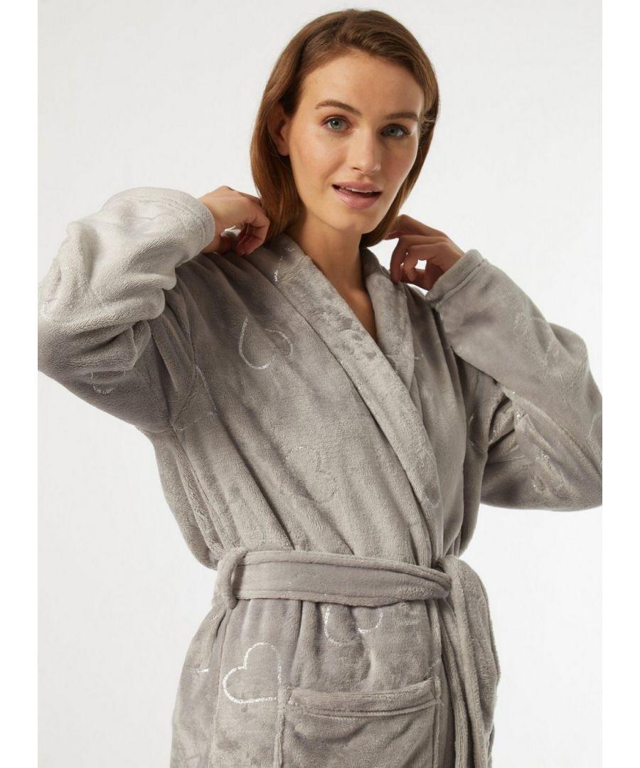 Image for Dorothy Perkins Womens Grey Foil Heart Robe Loungewear Dressing Gown Nightwear