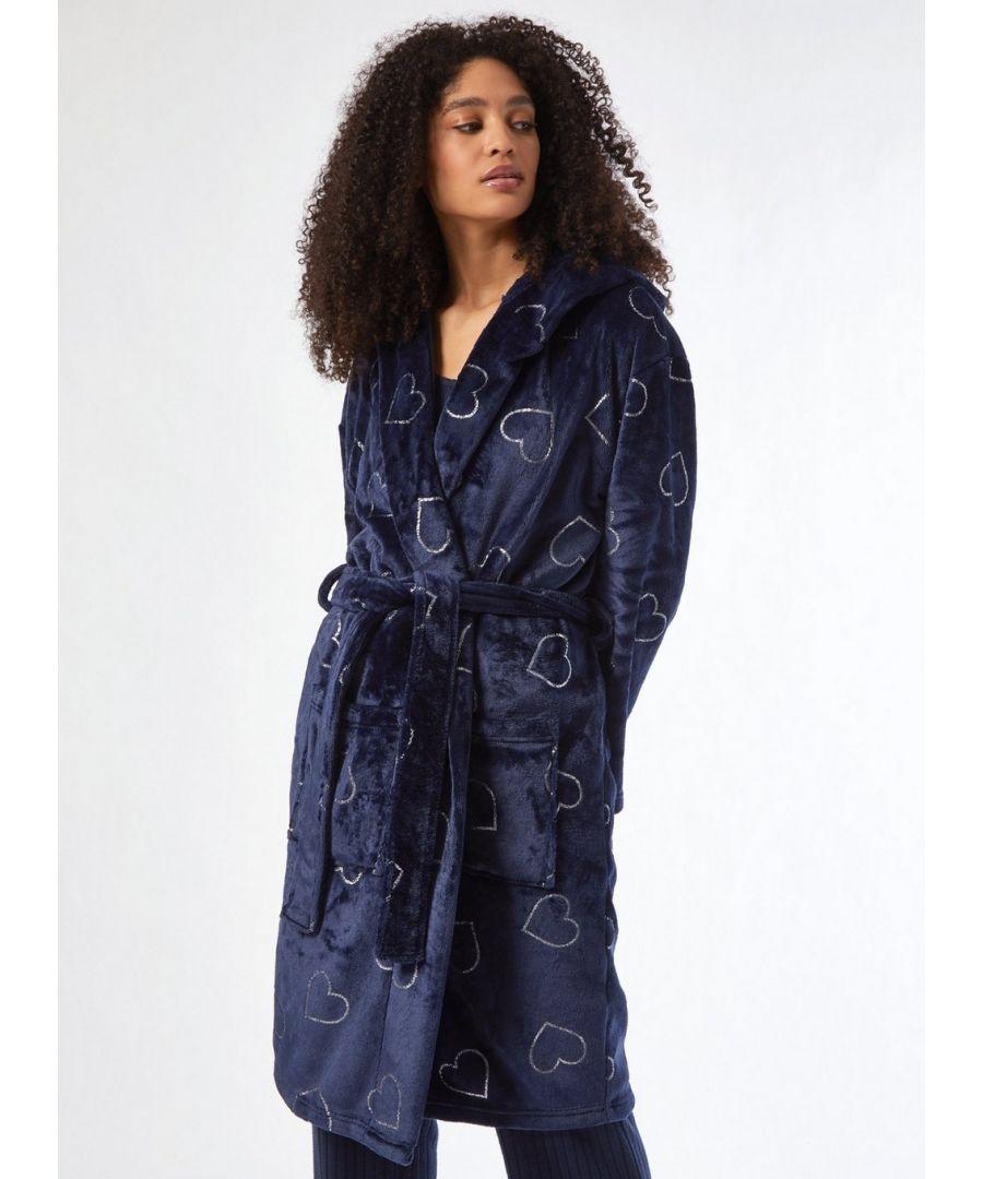 Image for Dorothy Perkins Womens Navy Foil Robe Nightwear Sleepwear Lounge Dressing Gown